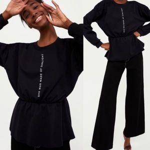 Zara She Was Made of Sunlight Black Peplum Top